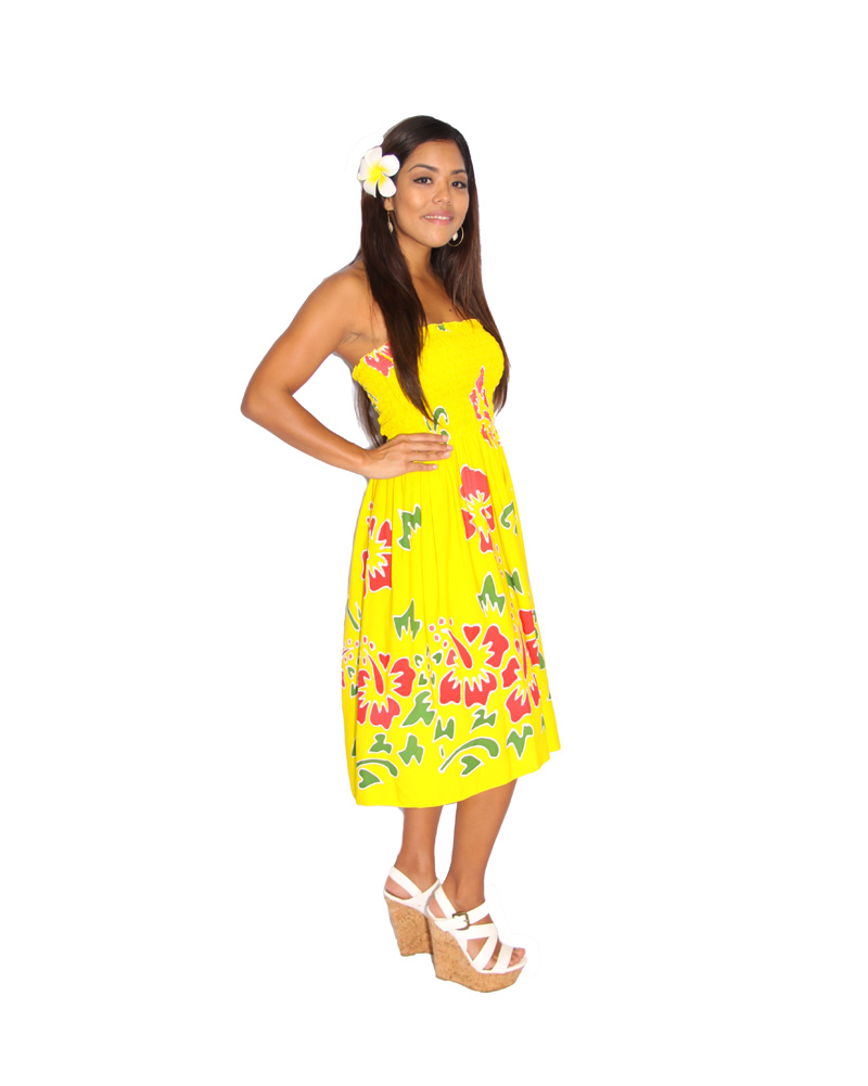 Bandeau Dress, Yellow Hibiscus | Pareo Island